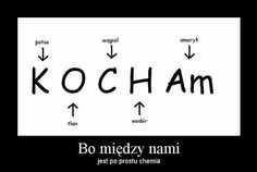 "Kocham means ""I love (you)"" Because between us is just chemistry Wtf Funny, Funny Cute, Hilarious, Man Humor, Memes, Funny Images, Cool Words, Quotations, Haha"