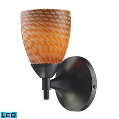 Celina 1 Light LED Sconce In Dark Rust And Cocoa Glass 10150/1DR-C-LED
