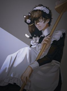 Maid Outfit Anime, Anime Maid, Ren Amamiya, Persona 5 Joker, Gato Anime, Akira Kurusu, First Animation, Maid Dress, Handsome Anime