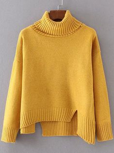 Yellow Ribbed Trim Turtleneck Asymmetrical Sweater — 0.00 € -----color: Yellow size: one-size