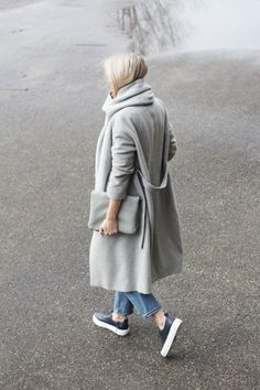 Grey coats, denim & sneakers