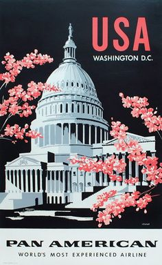 Pan American Airlines - Washington D.C. Vintage Travel Poster, White House Cherry Blossoms  USA