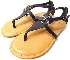3035a482893 Bamboo Armin-48 Black Women Flat Sandals Black US Size 6M NEW  Bamboo