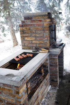 Grill Station design ideas for your backyard. - cool Fire Pits: Find Outdoor Fire Pit Table and Bowl Designs Online by Relaxing Outdoor Kitchen Ideas for Happy Cooking & Lively Party Pit Bbq, Backyard Bbq Pit, Barbecue Ideas Backyard, Outdoor Barbeque, Rustic Backyard, Brick Bbq, Barbecue Smoker, Diy Smoker, Outdoor Oven