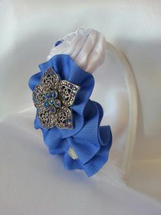 Blue ribbon and white saten handmade headband