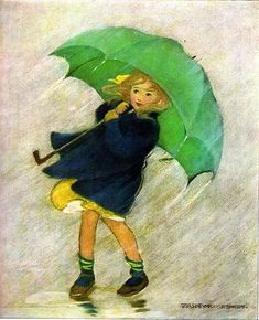 """Green Umbrella ~ """"A Very Little Child's Book of Stories"""" written and compiled by Ada M. Skinner and Eleanor L. with pictures by Jessie Wilcox Smith. Copyright 1923 by Dodd, Mead & Co. This is a 1951 edition by them. Rain Art, Umbrella Art, Children's Book Illustration, Vintage Children, Vintage Art, Vintage Clip, Watercolor Art, Illustrators, Retro"""