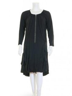 Damen Jerseykleid mit Seide, schwarz