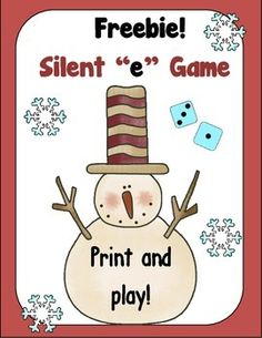 Happy Holidays! Snowman Silent e Game is a fun little game to practice reading those tricky words. Students roll a die to make a word. If a word can be made, they cover the word on the snowman. The first player to cover 5 words is the winner!