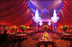 Just the perfect touch of ceiling draping, lighting and drama!