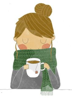 This is so me. Having tea, wrapped in my favorite homemade scarf, with my hair in a bun ;)
