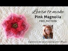 Pink Magnolia Free Crochet Pattern - Left Handed - YouTube - Maggie's Crochet