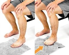 Scrunching up a towel with your feet helps to strengthen the foot muscles Foot Stretches, Foot Exercises, Ankle Strengthening Exercises, Ballerina Feet, Stroke Recovery, Toe Band, Sprained Ankle, Foot Drop, Foot Pain