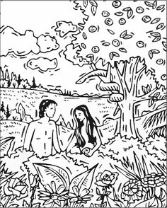 Sunday School Coloring Page Adam & Eve