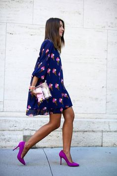 ice cream cone print dress + orchid colored heels.