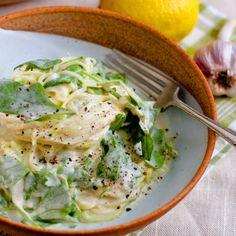 Creamy Garlic Alfredo with Arugula and Zucchini Linguine