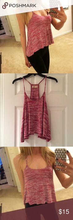 Hollister Crop Tank Red brushed Hollister crop tank. Flowy and longer on the sides. Worn only once and in perfect condition Hollister Tops Tank Tops