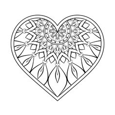 Mandala Coeur – tattoo's - Pour Vous Mandala Doodle, Mandala Tattoo, Mandala Art, Doodle Art, Heart Coloring Pages, Mandala Coloring Pages, Colouring Pages, Coloring Books, Mandalas Painting