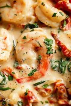Creamy Garlic Butter Tuscan Shrimp coated in a light and creamy sauce filled with garlic, sun dried tomatoes and spinach! Packed with incredible flavours! #chickenspaghetti