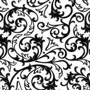 Cotton Scroll Fabric, Black/White