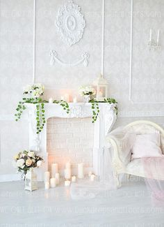 Indoor Scene Candles Vinyl Background Photo Backdrop Studio Prop Show Baby Living Room Candles, Candles In Fireplace, Fireplace Mantle, Wedding Fireplace, Fabric Backdrop, Backdrop Design, Backdrop Stand, Background For Photography, Photography Backdrops
