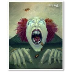 Signed Print Zombie Nightmare Clown Scary Evil Halloween Art