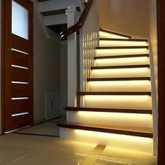 Demonstrating how to install the Intelligent Stair Lighting system - giving hands-free, automatic lighting for your stairs. Home Lighting, Modern Lighting, Lighting Design, Lighting System, Indoor Stair Lighting, Staircase Lighting Ideas, Hidden Lighting, Interior Lighting, Led Stair Lights