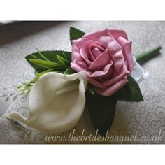 Ladies Buttonhole - Calla Lily, Rose & Astilbe - Pick Any Rose Colour - artificial wedding flowers - White or Purple Calla Orange Blush, Blue Peach, Blush And Gold, Purple, Pink Wedding Theme, White Wedding Flowers, Bridal Flowers, Uk Bride, Pink Color Schemes