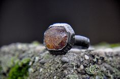 Antique ring. With amber. Antique Bronze Ring. by ANTIQUESxVINTAGE