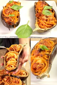 Mit Spaghetti gefüllte und überbackene Aubergine - das beste Rezept aller Zeiten!