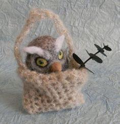 Art by Lubastudio NEEDLE FELTED OWL BIRD ALINA HANDMADE WOOL NEW