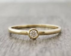 0.06 CTW 14K Gold solitaire Diamond  ring, solid gold solitaire ring, stacking ring, engagement ring, promise ring, minimalist ring, modern