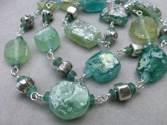 Ancient Roman Glass Necklace in Blues and by sharoncurtisdesigns, $285.00