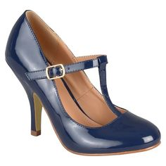 Women's Journee Collection Lessah T Strap Pumps - Navy