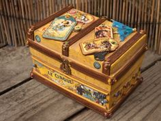 Mixed Media Circus Travel Box with polymer clay embellishments