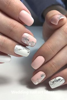 35 Simple Ideas for Wedding Nails Design - Nails - Nail Art Ideas Simple Wedding Nails, Wedding Nails Design, Simple Nails, Nail Wedding, Wedding Art, Elegant Wedding, Wedding Ideas, Cute Nails, Pretty Nails