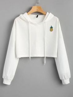 Cropped Pineapple Patches Hoodie - White M