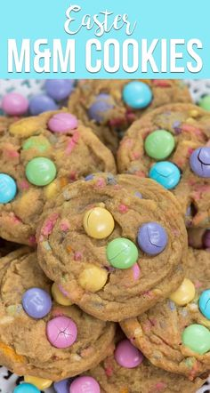 Make Easter M&M Cookies for spring! This is the best pudding cookie recipe filled with Easter M&Ms and pastel sprinkles. They're the perfect Easter treat! via Crazy for Crust - Easy Recipes and Desserts Recipes Easter M&M Cookies Easter Cookie Recipes, Easter Snacks, Easter Cookies, Easter Treats, Easter Desserts, Easter Baking Ideas, M&m Cookie Jar Recipe, Rainbow Desserts, Summer Cookies
