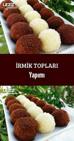 Semolina Balls Making The most beautiful, most delicious, newest recipes on this page. Köstliche Desserts, Delicious Desserts, Dessert Recipes, Yummy Food, Brownie Desserts, Cake Recipes For Kids, Easy Cake Recipes, Turkish Recipes, Food Menu
