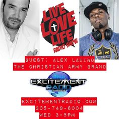 An incredible testimony of clothing faith and near death!  Guest: Alex Ladino founder of The Christian Army Brand will be in studio!  Tune in Wed 3-5pm on ExcitementRadio.com @excitementradio Wed 3-5pm only on the #liveloveliferadioshow!  #excitementradio #djsmoovenation #livelovelife #cantwait #djlife #djlife #ministrydj #christiandj #christianhiphop #chh #livelovelife #liveloveliferadioshow #turntablism #radiohost #thechristianarmybrand @thechristianarmybrand by scottsnation…