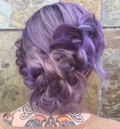 purple hair with highlights in updo