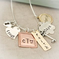 Hand Stamped Necklace - Personalized - Mommy Necklace - Mixed Metals - Family Necklace