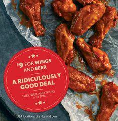 Wings and beer at Earl's Port Coquitlam City Restaurants, Tri Cities, Ribs, Chicken Wings, Sausage, Beer, Food, Root Beer, Ale