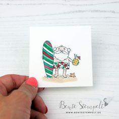 Stampin' Up! Surfin' Santa Weihnachgtsmann Strand Surfbrett Cardmaking, Stampin Up, Santa, Cards, Making Cards, Stamping Up, Map