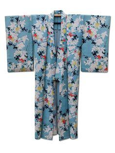 'Spring Time' beautiful light blue 'rinzu' (jacquard) silk kimono with a fantastic floral pattern. X
