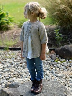 Can someone knit this for my daughter? LOVE this lovely knitted cardigan with leaf lace detail for girls. Cove Cardigan by Heidi May - The Velvet Acorn Designs - ravelry Knitting For Kids, Knitting Projects, Baby Knitting, Crochet Baby, Knit Crochet, Crochet Cardigan, Knit Cardigan Pattern, Knitting Tutorials, Crochet Granny