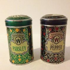 2 Vintage 1987 JR Watkins Spice Tins Containers Jars Parsley Pepper Limited Collectors Edition Tins Country Rustic Kitchen Decor