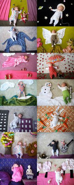 Sleeping Baby (calendar, month to month milestone)