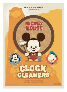 My homage to the great Mickey Mouse short Clock Cleaners Mickey Mouse Shorts, Mickey Minnie Mouse, Disney Mickey, Disney Pixar, Walt Disney, Disney Characters, Disney Posters, Disney Cartoons, Retro Cartoons