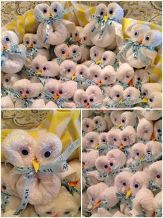 Baby shower owl favors.  What you will need:  One washcloth any size/type  Googly eyes  Package of Zots  Mini elastic hair ties (2each) Foam board/paper  Ribbon  Roll up the washcloth from one corner all the way to the other. Secure with one elastic. Fold in half and fold each end in half as well. Secure with elastic. Tie ribbon over elastic very tightly. Add one zot to each Googly eye to the washcloth. Cut foam paper into shape of long beak. Secure end of beak into the washcloth.