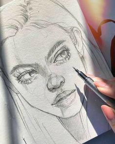 Cool Art Drawings, Pencil Art Drawings, Art Drawings Sketches, Realistic Drawings, Pencil Sketching, Drawing Faces, Art Illustrations, Tattoo Drawings, Arte Sketchbook